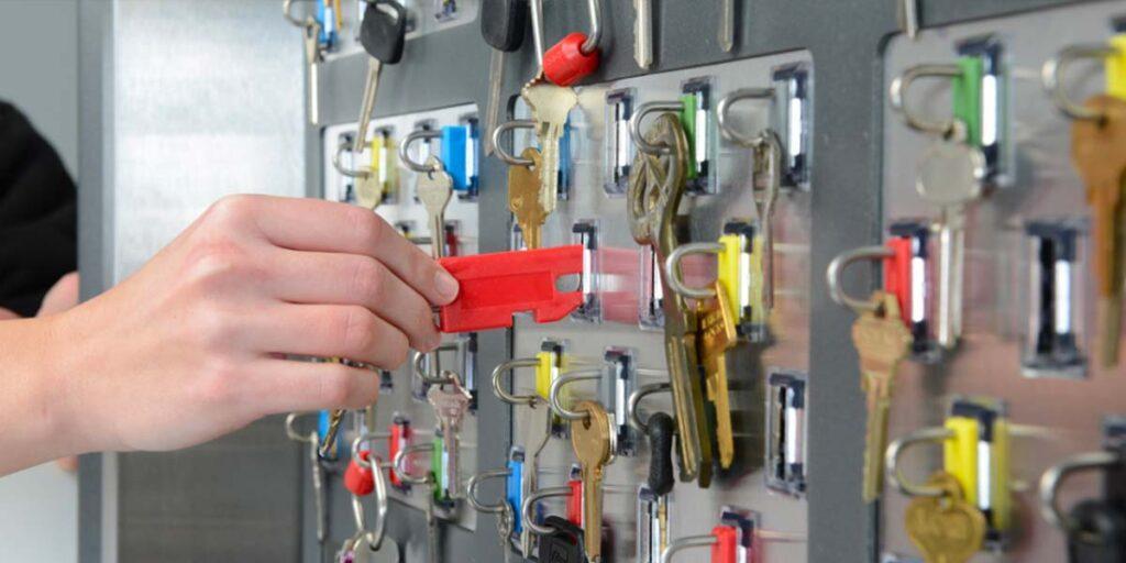 electronic key control system, Man using electronic key control