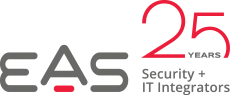 EAS, Logo 25 Year, Anniversary, Red, Grey, Black, White